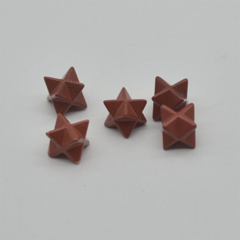 High Quality Natural Red Jasper Semi-precious Gemstone Small Merkaba carved Star - 1 Count -  12mm x 12mm x 12mm