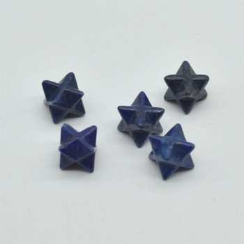 High Quality Natural Lapis Lazuli Semi-precious Gemstone Small Merkaba carved Star - 1 Count -  12mm x 12mm x 12mm