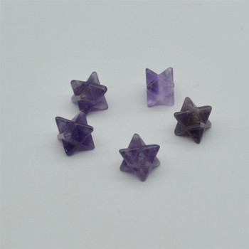 High Quality Natural Amethyst Semi-precious Gemstone Small Merkaba carved Star - 1 Count -  12mm x 12mm x 12mm