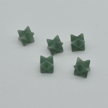 High Quality Natural Green Aventurine Semi-precious Gemstone Small Merkaba carved Star - 1 Count -  12mm x 12mm x 12mm