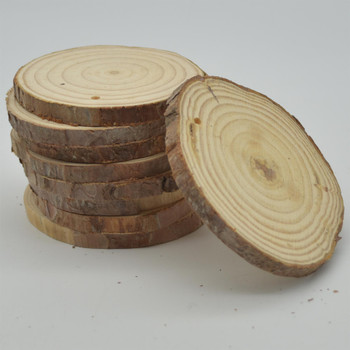 Pine Wood log Slice - Pre-drilled hole - 20 Count - 7cm - 9cm