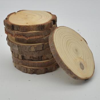 Pine Wood log Slice - Pre-drilled hole - 20 Count - 8cm - 10cm