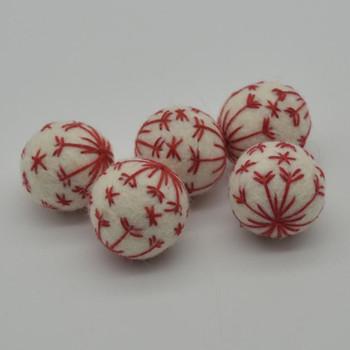 Felt Christmas Embroidered Snowflake Bauble Felt Ball - 6 Count - Ivory White - 2.5cm