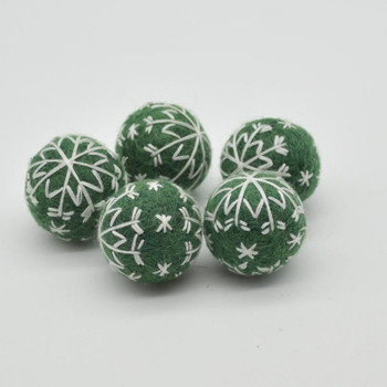 Felt Christmas Embroidered Snowflake Bauble Felt Ball - 6 Count - Dark Green - 2.5cm