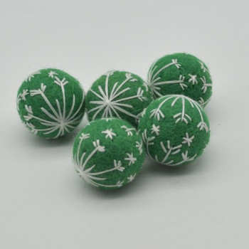 Felt Christmas Embroidered Snowflake Bauble Felt Ball - 6 Count - Forest Green - 2.5cm