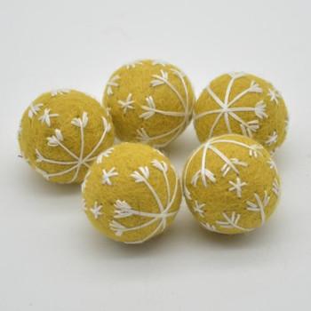 Felt Christmas Embroidered Snowflake Bauble Felt Ball - 6 Count - Golden - 2.5cm