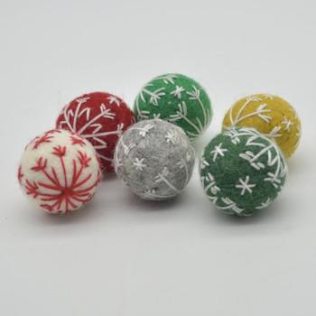 Felt Christmas Embroidered Snowflake Bauble Felt Ball - 12 Count - Assorted - 2.5cm