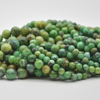 "High Quality Grade A Natural Variscite Semi-Precious Gemstone Round Beads - 6mm, 8mm, 10mm sizes - 15.5"" long"