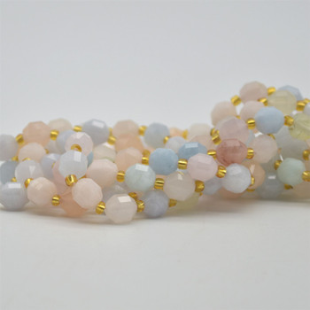 "Grade A Natural Morganite Semi-precious Gemstone Double Tip FACETED Round Beads - 7mm x 8mm - 15.5"" strand"