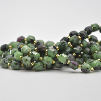 """Grade A Natural Ruby Zoisite Semi-precious Gemstone Double Tip FACETED Round Beads - 7mm x 8mm - 15.5"""" strand"""