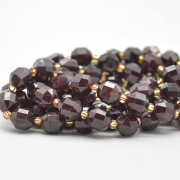 """Grade A Natural Garnet Semi-precious Gemstone Double Tip FACETED Round Beads - 7mm x 8mm - 15.5"""" strand"""