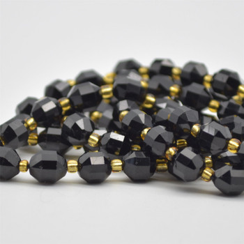 "Grade A Natural Black Tourmaline Semi-precious Gemstone Double Tip FACETED Round Beads - 7mm x 8mm - 15.5"" strand"