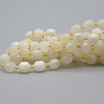 """Grade A Natural White Moonstone Semi-precious Gemstone Double Tip FACETED Round Beads - 7mm x 8mm - 15.5"""" strand"""