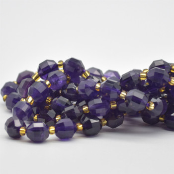 "Grade A Natural Amethyst Semi-precious Gemstone Double Tip FACETED Round Beads - 7mm x 8mm - 15.5"" strand"
