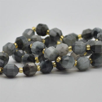 """Grade A Natural Hawk Eye Semi-precious Gemstone Double Tip FACETED Round Beads - 7mm x 8mm - 15.5"""" strand"""