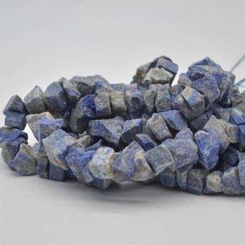 "Raw Hand Polished Natural Lapis Lazuli Semi-precious Gemstone Nugget Beads - approx 8mm - 10mm x 12mm - 15mm - approx 15.5"" strand"