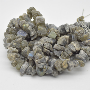 "Raw Hand Polished Natural Labradorite Semi-precious Gemstone Nugget Beads - approx 8mm - 10mm x 12mm - 15mm - approx 15.5"" strand"
