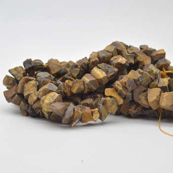"""Raw Hand Polished Natural Tiger Eye Semi-precious Gemstone Nugget Beads - approx 8mm - 10mm x 12mm - 15mm - approx 15.5"""" strand"""