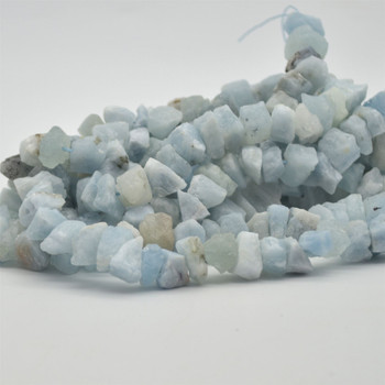 "Raw Hand Polished Natural Aquamarine Semi-precious Gemstone Nugget Beads - approx 8mm - 10mm x 12mm - 15mm - approx 15.5"" strand"