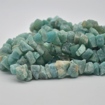 "Raw Hand Polished Natural Amazonite Semi-precious Gemstone Nugget Beads - approx 8mm - 10mm x 12mm - 15mm - approx 15.5"" strand"