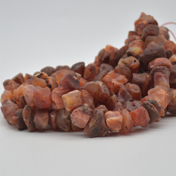 "Raw Hand Polished Natural Carnelian Agate Semi-precious Gemstone Nugget Beads - approx 8mm - 10mm x 12mm - 15mm - approx 15.5"" strand"