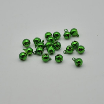 Metallic Jingle / Sleigh Bells - Green  - 100 Count - 8mm
