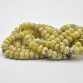 "Grade A Natural Yellow Line Turquoise Semi-precious Gemstone FACETED Rondelle Spacer Beads - 8mm x 5mm - 15.5"" strand"