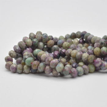 "Grade A Natural Ruby Zoisite Semi-precious Gemstone FACETED Rondelle Spacer Beads - 8mm x 5mm - 15.5"" strand"