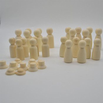 Natural Plain Wood Peg Doll Family Figures with 12 Individual Hats - size 53mm - 65mm - 24 count
