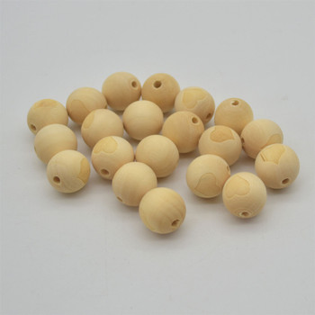 Natural Plain Round Wood Beads with Engraved Heart - size 20mm - 20 beads