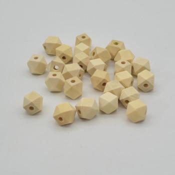 Natural Plain Diamond Cut Round Wood Beads - 12mm - 50 beads