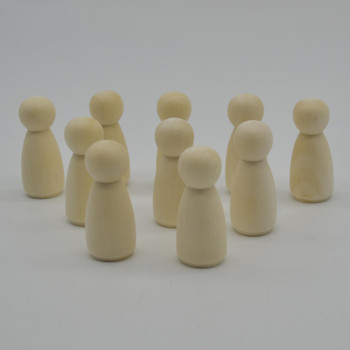 Natural Plain Wood Peg Doll Female Figures - 100 Count - 43mm