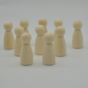 Natural Plain Wood Peg Doll Female Figures - 100 Count - 53mm