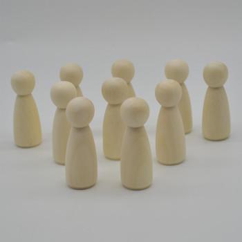 Natural Plain Wood Peg Doll Female Figures - 20 Count - 65mm
