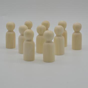 Natural Plain Wood Peg Doll Male Figures - 20 Count - 65mm