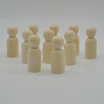 Natural Plain Wood Peg Doll Male Figures - 100 Count - 65mm
