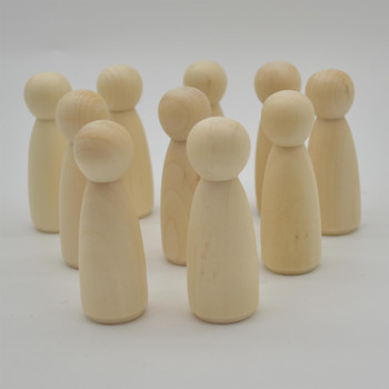 Natural Plain Wood Peg Doll Female Figures - 10 Count - 75mm