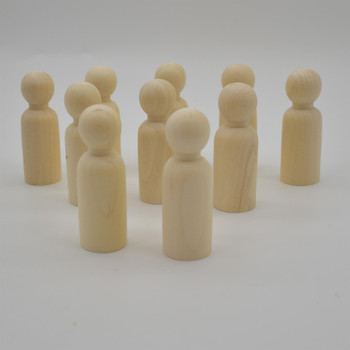 Natural Plain Wood Peg Doll Male Figures - 10 Count - 75mm