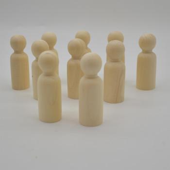 Natural Plain Wood Peg Doll Male Figures - 100 Count - 75mm
