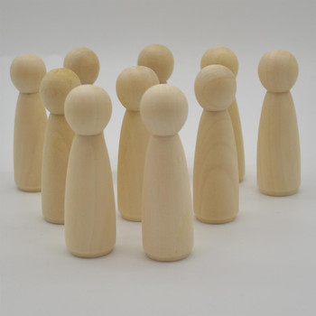 Natural Plain Wood Peg Doll Female Figures - 10 Count - 90mm