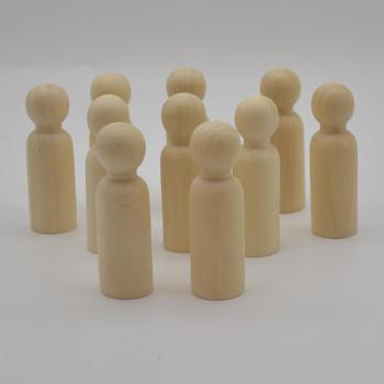 Natural Plain Wood Peg Doll Male Figures - 10 Count - 90mm