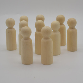 Natural Plain Wood Peg Doll Male Figures - 100 Count - 90mm