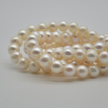 """Natural Freshwater Pearl Beads Round White / Cream - 9mm - 10mm - Grade A - 15.5"""" strand"""