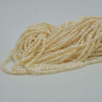 """High Quality Grade A Natural Freshwater Baroque Seed Nugget Keshi Pearl Beads - White - 2mm - 3mm - 14"""" strand"""