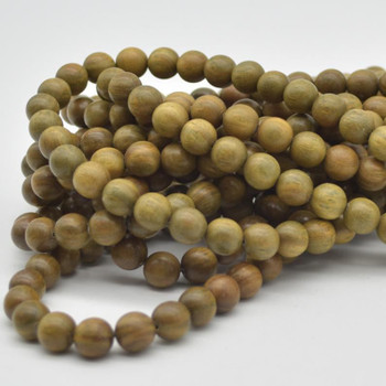 Natural Green Sandalwood Verawood Round Wood Beads - 108 beads - Mala Prayer Beads - 10mm - New Batch