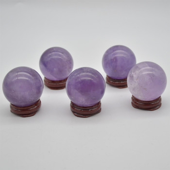 Natural Amethyst Semi-precious Gemstone Sphere Ball  - 1 Count - approx 4.5cm wide