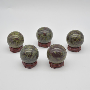 Natural Dragon Blood Jasper Semi-precious Gemstone Sphere Ball  - 1 Count - approx 4cm - 4.5cm wide - approx 100 - 140 grams