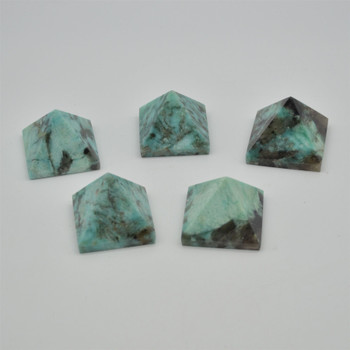 Natural Amazonite Semi-precious Gemstone Pyramid - 1 Count - approx 5cm x 4.5cm - approx 100 grams