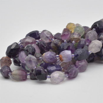 "High Quality Grade A Natural Rainbow Fluorite Semi-precious Gemstone Faceted Baroque Nugget Beads - 9mm - 10mm x 13mm - 15mm - 15.5"" strand"