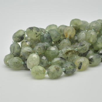 "High Quality Grade A Natural Prehnite Semi-precious Gemstone Faceted Baroque Nugget Beads - 10mm - 12mm x 13mm - 15mm - 15.5"" strand"